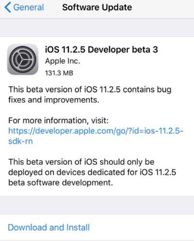 إطلاق الإصدار التجريبي الثالث من iOS 11.2.5 للأيفون والأيباد، ما الجديد ؟