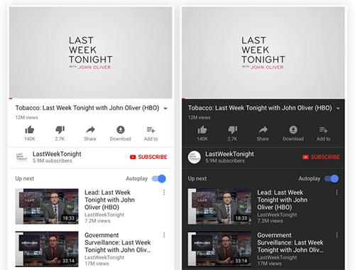 الفرق في واجهة يوتيوب مع خاصية الوضع الليلي