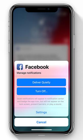 التحكم في الإشعارات في iOS 12