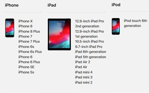 الأجهزة الداعمة لتحديث iOS 12