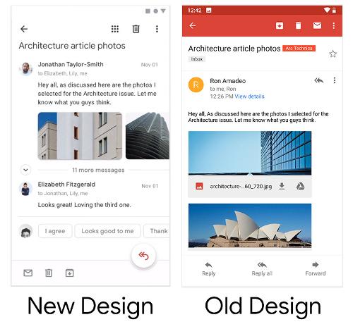 تطبيق Gmail بتصميم جديد