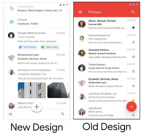 تطبيق Gmial بتصميم جديد