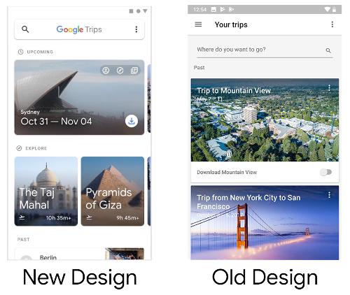 التصميم الجديد لتطبيق جوجل للرحلات Google Trips