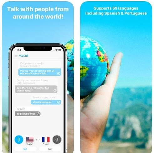 تطبيق Vocre Voice & Text Translator للترجمة الصوتية و النصية