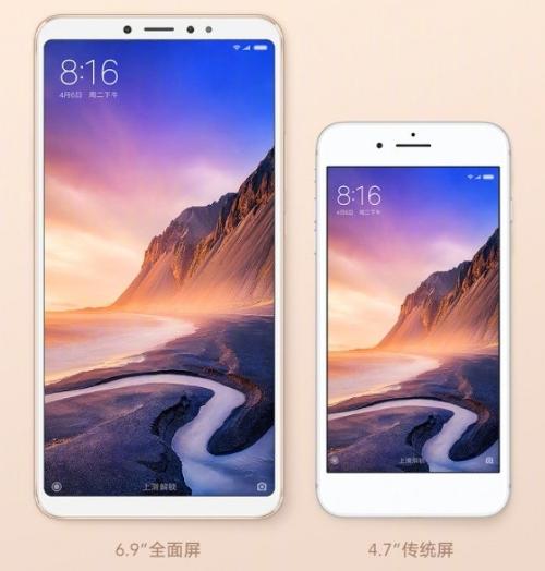 Xiaomi Mi Max 3 بجانب الآيفون