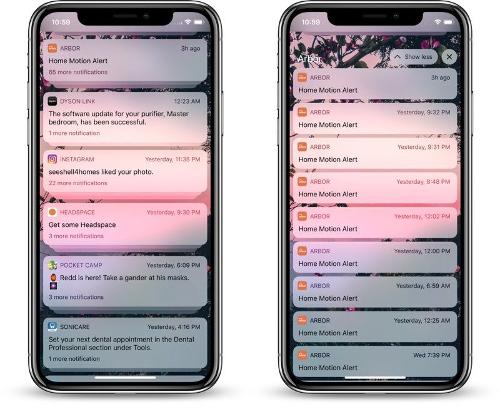 الإشعارات المجمعة Grouped Notifications في iOS 12