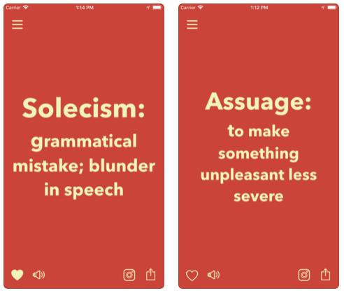 تطبيق Vocabulary لتعلم الإنجليزية و الأسبانية