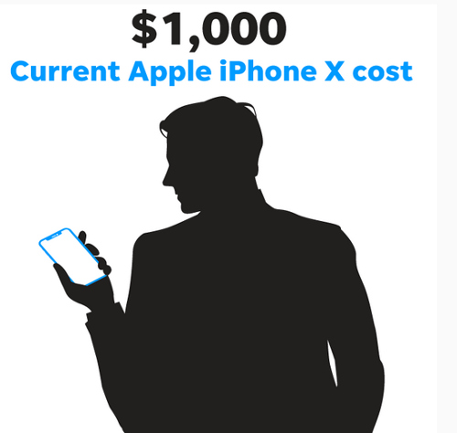 يبلغ سعر آيفون إكس 1,000$
