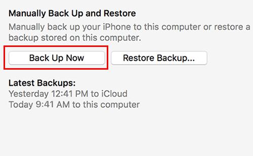 تحديث iOS 12 - النسخ الاحتياطي عبر آيتونز