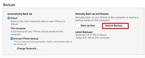 iOS 12 - استرجاع النسخة الاحتياطية