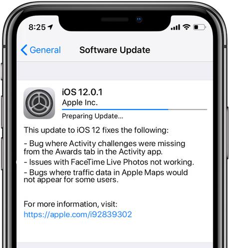 آبل تطلق تحديث iOS 12.0.1