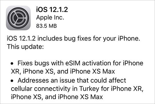 تحديث iOS 12.1.2