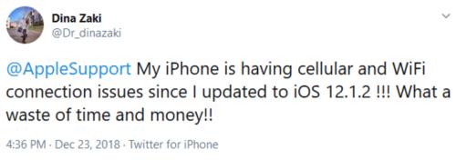 مشكلة في الوايفاي أيضاً بعد التحديث إلى iOS 12.1.2