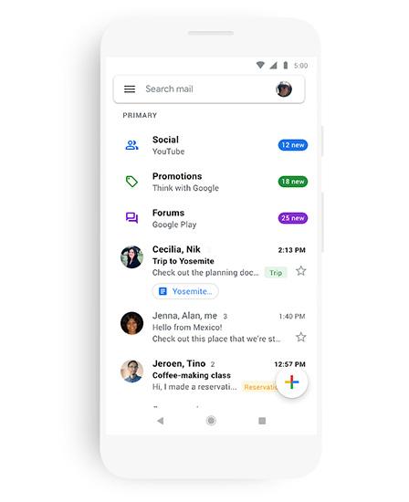 بالصور - التصميم الجديد لتطبيق البريد Gmail على الأندرويد و iOS
