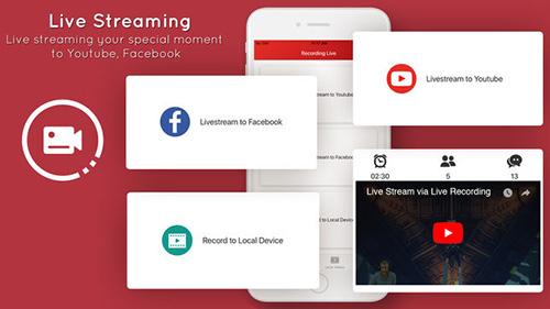 تطبيق Live stream للبث الحي على يوتيوب وفيسبوك