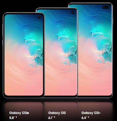 هواتف سامسونج جالكسي S10e و S10 و S10 Plus - الشاشة