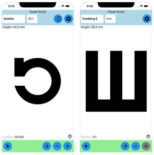 تطبيق Visual Acuity Charts لقياس حدة الإبصار