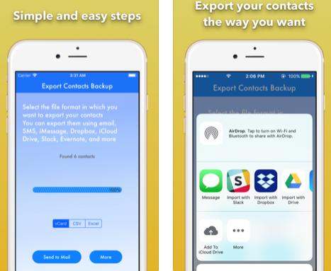 تطبيق Export Contact Cleaner Backup