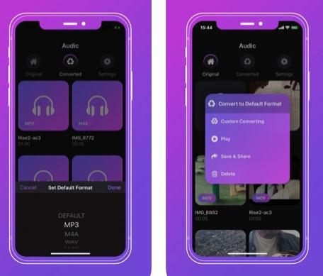 تطبيق Audic للتحويل إلى MP3