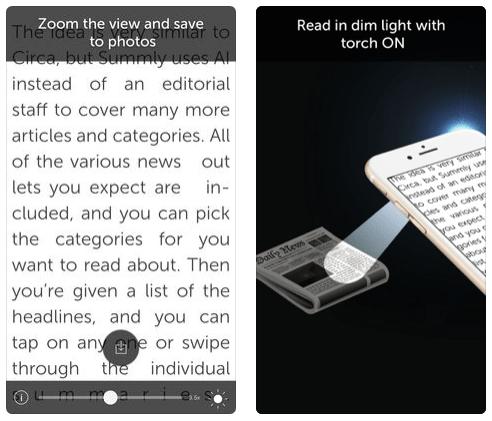 تطبيق Magnifier للتكبير والقراءة