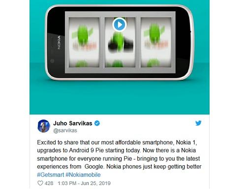 هاتف نوكيا 1 يحصل على تحديث Android Pie Go