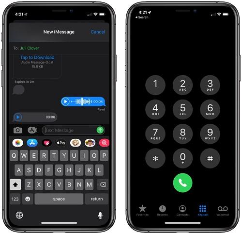 الوضع الليلي - تطبيقات الهاتف والرسائل