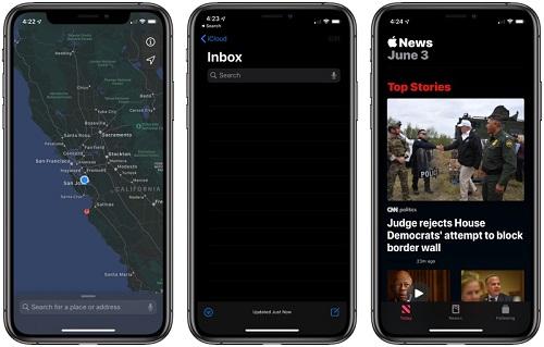 الوضع الليلي - تطبيقات الأخبار والبريد والخرائط
