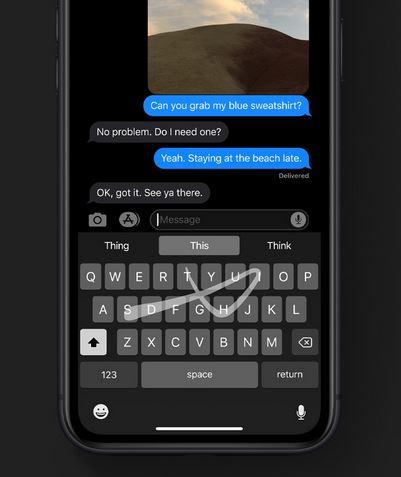 iOS 13 - الكتابة على لوحة المفاتيح بطريقة السحب