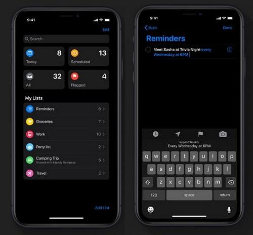 تحديث iOS 13 - تطبيق التذكيرات