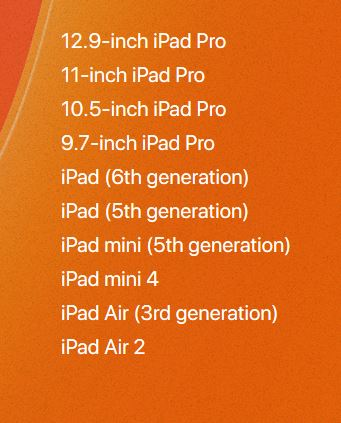أجهزة الآيباد المتوافقة مع iPadOS