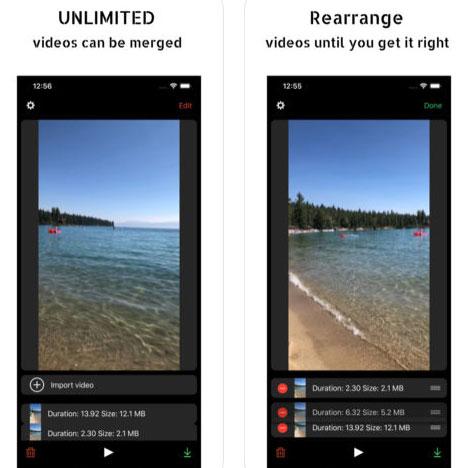 تطبيق Merge Videos لدمج الفيديو