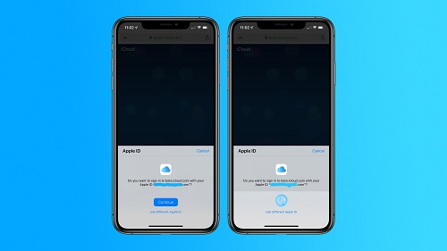 حسابات iCloud على iOS 13