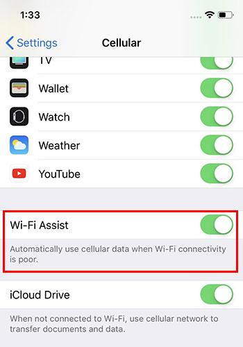 تعطيل خاصية WiFi Assist