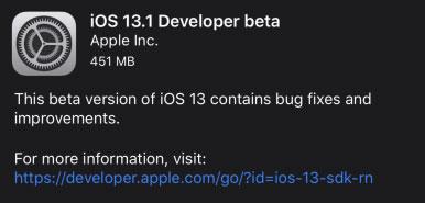 آبل تطلق تحديث iOS 13.1 التجريبي