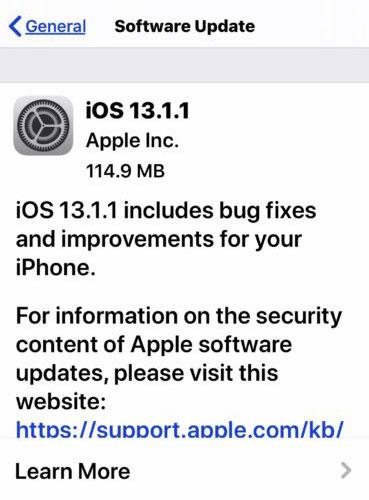 آبل تطلق تحديث iOS 13.1.1 لإطلاق مشكلة استنزاف البطارية ومشاكل أخرى!
