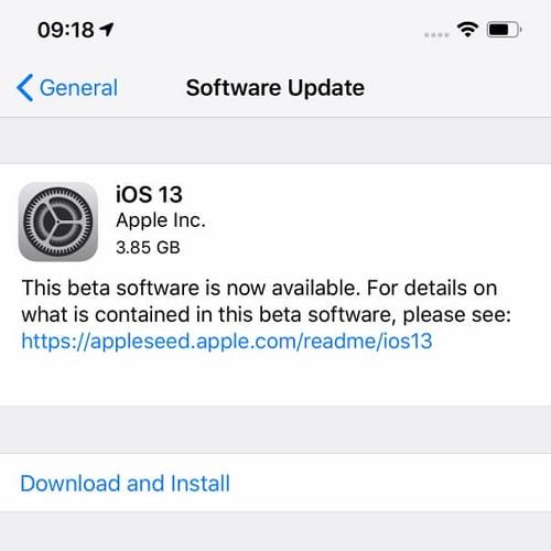 التحديث إلى iOS 13 هوائياً