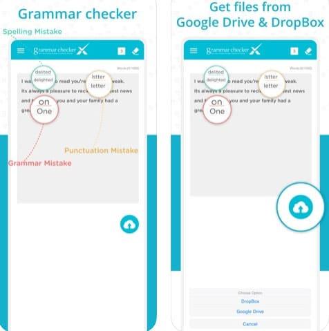 تطبيق Grammar Checker X للتدقيق اللغوي