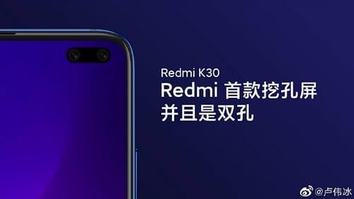 تسريب Redmi K30 مع ثقبين في الشاشة لكاميرا أمامية مزدوجة