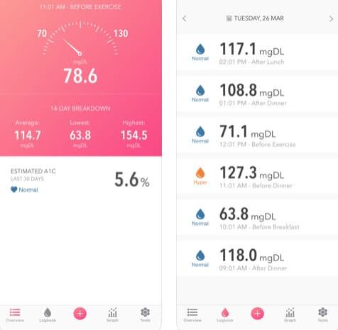 تطبيق Glucose tracker لمرضى السكر