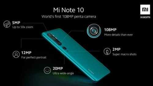 تسريب تفاصيل كاميرا Xiaomi Mi Note 10 مع عدسة رئيسية 108MP!