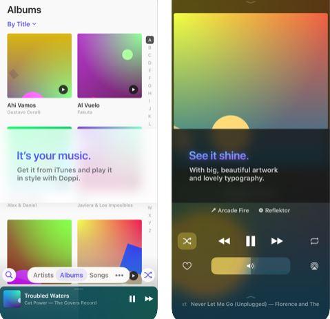تطبيق Doppi مشغل الموسيقى