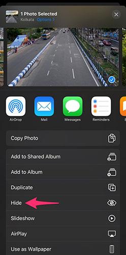 إخفاء الصور والفيديو داخل تطبيق الصور Photos