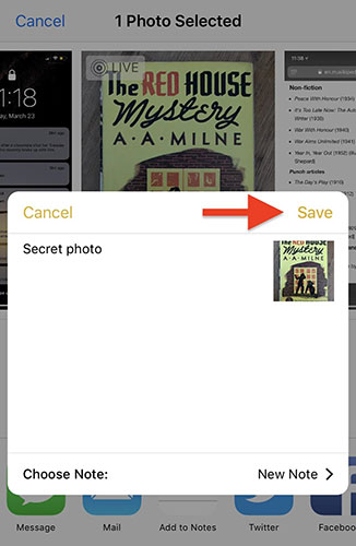 إخفاء الصور والفيديو داخل تطبيق الملاحظات Notes