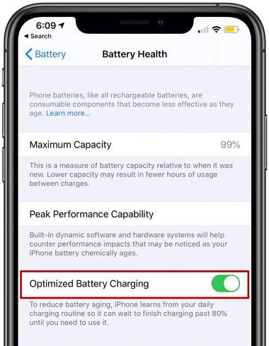 حالة البطارية Battery Health في iOS 13