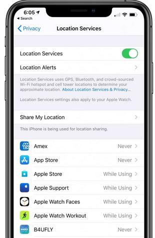 نظام iOS 13 - كيفية إطالة عمر بطارية الايفون والايباد خدمات الموقع