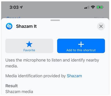 وضع اختصار لتطبيق Shazam داخل برنامج الاختصارات Shortcuts