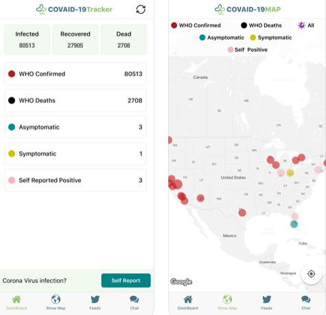 تطبيق COVID-19 Tracker لتتبع فيرس كورونا