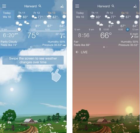 تطبيق YoWindow Weather لعرض حالة الطقس