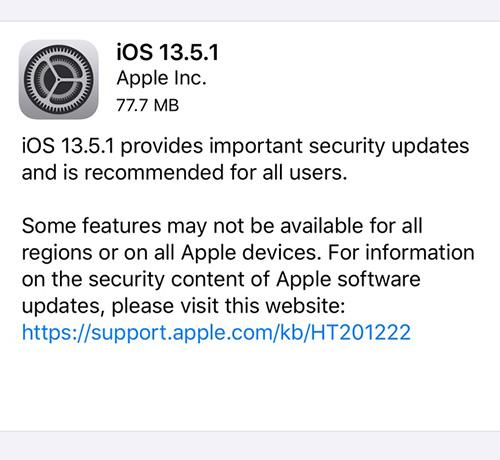 تحديث iOS 13.5.1