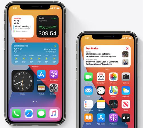 الويدجت مع التطبيقات في الشاشة الرئيسية